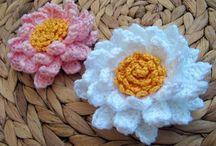 Crochet flowers, stars, appliqués