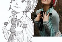 Cartoons from life / Cartoon sketches with photographic reference side by side.
