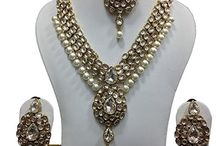 Latest Bollywood Style Wedding Party Kundan Necklace Jewelry Set