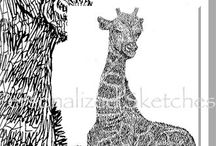 Personalized Sketches Art...All about Animals / Artwork of animals...some wild...some tame! Your pets or any other animal image are drawn entirely with a name. Please be sure to stop by my facebook art business page and take a look around.