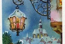 Винтажные открытки, иллюстрации