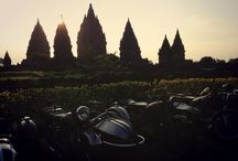 Classic Motorcycle / So classic and also beutiful sunset in Prambanan Temple