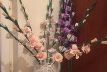 my products / Kağıttan sepet ve çiçekler