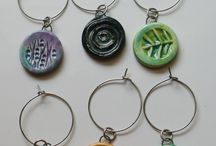 Ceramic Wine Accessories / Handcrafted Ceramic Wine Glass Charms by Mary Welsh Hubbard www.whitecloverkiln.com