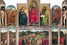 A genti oltár / A van Eyck fivérek-féle genti szárnyasoltár képei szétdarabolva.