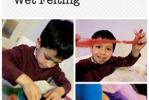 Feltragem com crianças | Felting with kids