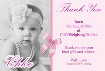 Baby Thank you Cards / Announcements / Say thank you or announce the arrival of your precious new born with these beautiful personalised baby thank you / New arrival Announcement cards