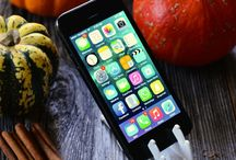 iPhone Accessories / iPhone accessories for taking pictures of autumn. This portable iPhone stand fits in a wallet and is always with you to capture beautiful autumn and fall pictures with beautiful tiny pumpkins and colorful leaves.