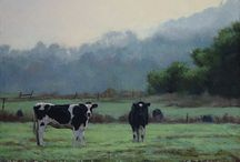 My Available Paintings: Cows / I haven't done a lot of cows, but I've always been intrigued by their blocky, angular shapes, and their interesting colors and patterning. And they always seem so placid and content. Right now they live on my website with the horses: http://www.kathypartridge.com/mostly-horses/