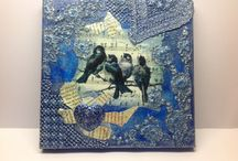 Birds on canvas / Mixed media lace etc...