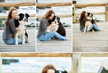 Dogs and owner poses