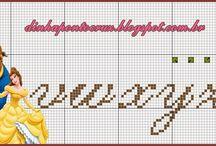 Alfabeto ponto cruz Bela e a Fera