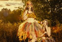 """Darkslide Photography - The Autumn Fae / A photoshoot by Andy Simon of Darkslide Photography, Entitled """"The Autumn Fae""""  A fantasy, mythical inspired set shot on location in a forest at sunset, with warm rich colours throughout the costumes and setting.   Makeup by Helen Burton Costumes by KinkyKex and Glitz and Tails Jewllery and Accessories by Twisted Trinkets and Scarlett Phoenix Leather"""