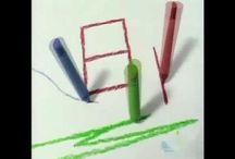 1.lk piirustus / sommittelu / Lukuvuoden teemana värimaa - tutustuminen eri piirtimiin: hiili, tussi, grafiittikynä, liitu - erilaiset muodot