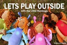 Little Humbug Fairy Dolls / The Little Humbugs dolls encourage imaginative play outdoors in nature. These enchanting, nature based products provide great outdoor role models for young children. Please allow me to introduce…Chloe the Gardener, Lucy the Bird Keeper, Nika the Rock Hunter and Flint the Dragonfly Boy who loves to build and create art, using recycled items from nature