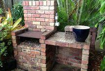 Outdoor brick BBQ