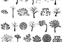 Vystřihovánky Stromy / stromy, strašidelné stromy (Halloween), kromě vánočních stromků