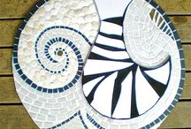 Mosaic panels by Natalie Utmar / Mosaic panels as wall hangings in an abstract style that refers to   force and energy in nature.