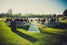 Ceremony Options / Examples of covered ceremony space and lawn ceremony space. Both overlook a lake as well as the 9th and 18th green.