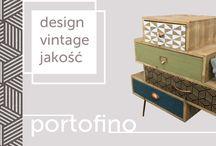 Kolekcja Portofino / Meble z kolekcji Portofino - niebanalne wzornictwo w stylu vintage sprawi, iż każde wnętrze zyska oryginalność i świeżość. Meble charakteryzuje wysoka jakość-surowe drewno jodłowe oraz metalowe nogi i okucia w modnym kolorze  miedzi. Designerskie kształty i fronty w geometryczne wzory i stonowane kolory to idealne rozwiązanie dla osób ceniących indywidualność. Kolekcja Portofino- styl, design, jakość.