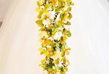 Brudebukett gul/grønn/orange