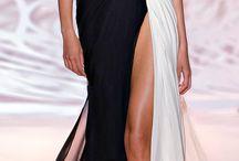 Crno belo dolg fustan