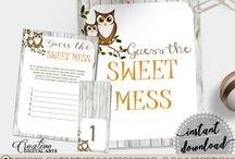 Baby Shower Products in Owl Theme, Invitations, Games, Decorations And More / Hi, thank you for visiting this beautiful baby shower board with products in Owl theme. Here, you'll find different invitations, games and activities, decorations and more with over 40 products in this theme.