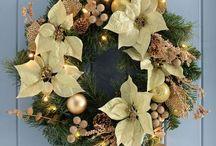 60cm Christmas Door Wreath Pre-Lit Warm Led Lights Decoration Indoor Outdoor