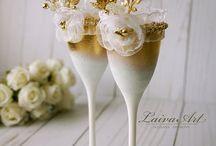 Свадебные наборы шампанское и бокалы