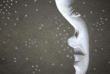Rajzestek a Művészházban / különleges rajztechnikák - fekete papíron fehér pasztell, Zentangle rajzolás, point art, pointilism