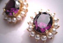Estate Vintage Amethyst Pearl Earrings Gold Victorian