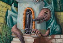 Italian Folklore - Children's Book Illustration / First series of illustrations on Italian folklore: - Il lupo comunale (The Municipal Wolf) - The Masciara or Stiare - The Monaciello (Little Monk)