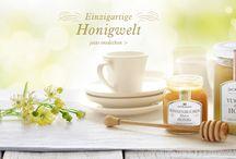 Einzigartige Honigwelt / Haben Sie gewusst, dass wir etwa 20 sortenreine Honige und gut 30 Honigzubereitungen in unserem Sortiment haben? Eine einzigartige Auswahl für jeden Geschmack und auch für unterschiedliche Anwendungen. Denn Honig schmeckt nicht nur köstlich pur auf Brot. Probieren Sie Honig auch mal in Ihrer Vinaigrette oder zum Marinieren von Braten und Grillfleisch.