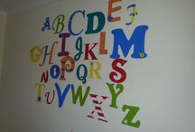 Wall alphabets and numbers / These gorgeous wall murals are a stunning addition to any bedroom or playroom. Available in any colour combinations they measure around 1.5mx1.5m when arranged like this with each letter rangig from 15-25cm.