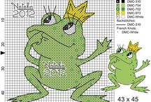żabki frogg - cross stitch