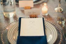 blue orange table setting