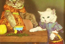 vintage cats as people