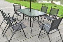 Garden Folding Set Furniture Patio 8 Piece Outdoor Chairs Umbrella Glass Table