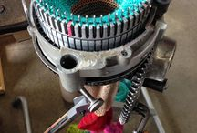 Hand Cranked Socks and Sock Yarn / Our hand cranked socks are all made on an antique circular sock machine (CSM)
