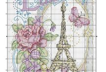 Torre Eiffel en Punto en Cruz