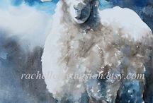 akvarellmålning djur