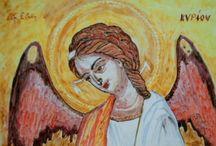 Icona in ceramica,riproduzione di antica Icona bizantina.Interamente fatta a mano