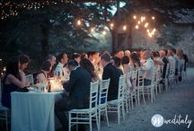 Real Event - Stacey and Chris / A real wedding in Tuscany summer 2014 - tree lighting and long table