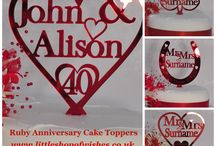 Anniversary Cake Toppers / Beautiful Anniversary Cake Toppers for Silver, Golden and Ruby Wedding Anniversaries. Unusual Gifts for Wedding Anniversaries.