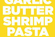 Garlic butter shrimp and pasta
