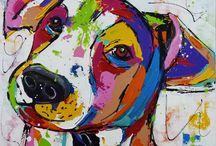 gekleurde honden