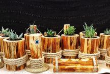 Kütük,ahşap saksılar (Wooden planters) / Doğal saksılar ile bitkilerin buluşması.