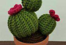 crochet cactus and other plants