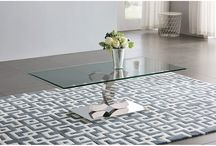 Modern Contemporary Glass Stainless Steel Silver Coffee Table