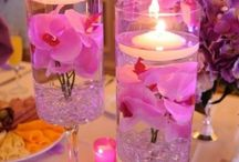 White and pink and center pieces